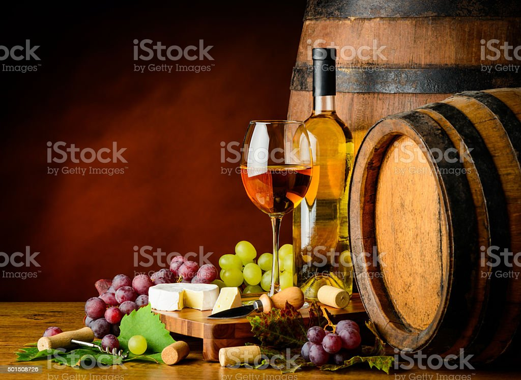 white wine, grapes and cheese stock photo