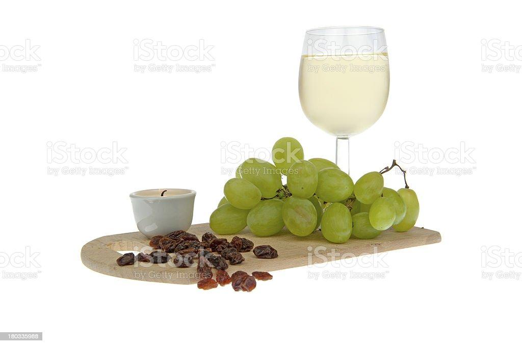 White wine grapes and raisins ornate royalty-free stock photo