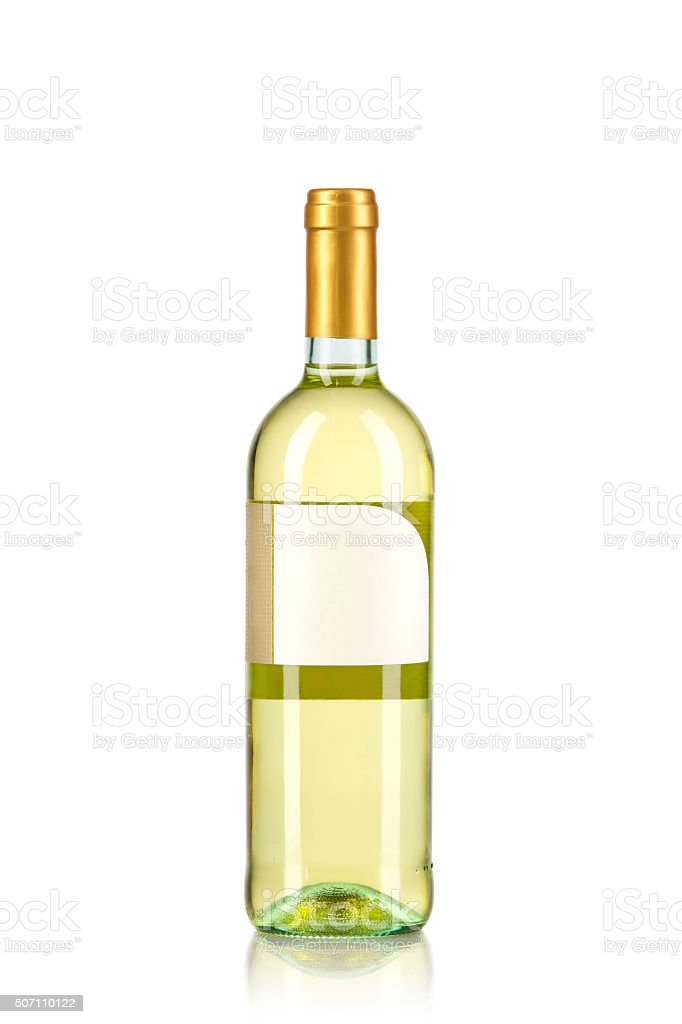 White wine in a bottle  (isolated on white) stock photo