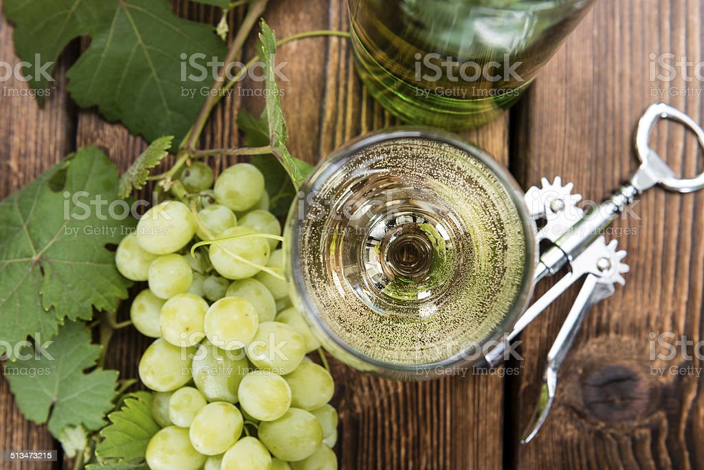 White Wine in a glass stock photo