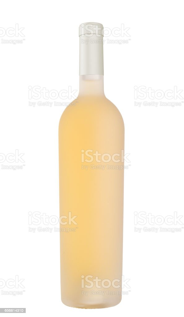 white wine in etched bottle without label stock photo