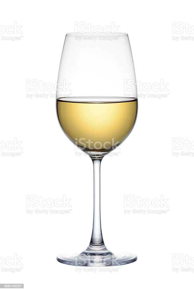 White wine in glass isolated over white background stock photo