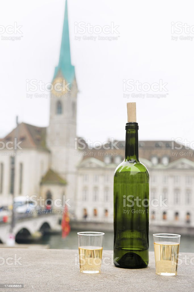 White Wine in Old Town Zurich royalty-free stock photo