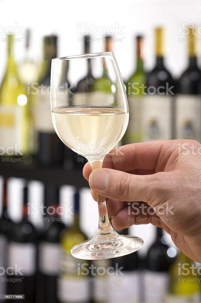 White Wine in Tasting Showroom royalty-free stock photo