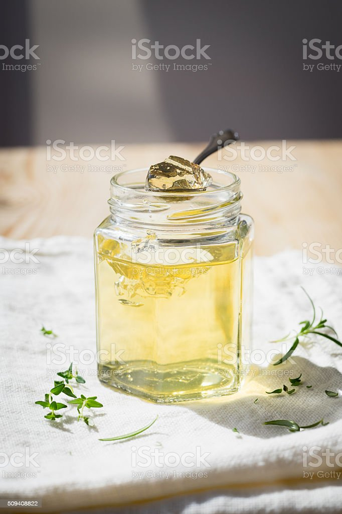 White wine jelly with thyme and rosemary stock photo