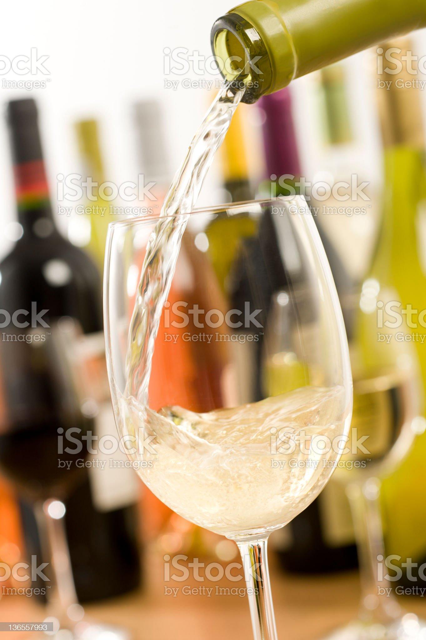 White Wine Pour royalty-free stock photo