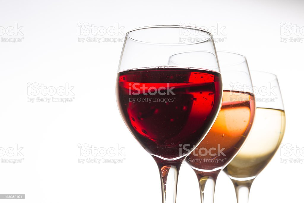 White wine, Red wine and Rose stock photo