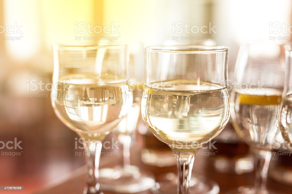 White Wine Served In Crystal Glasses stock photo