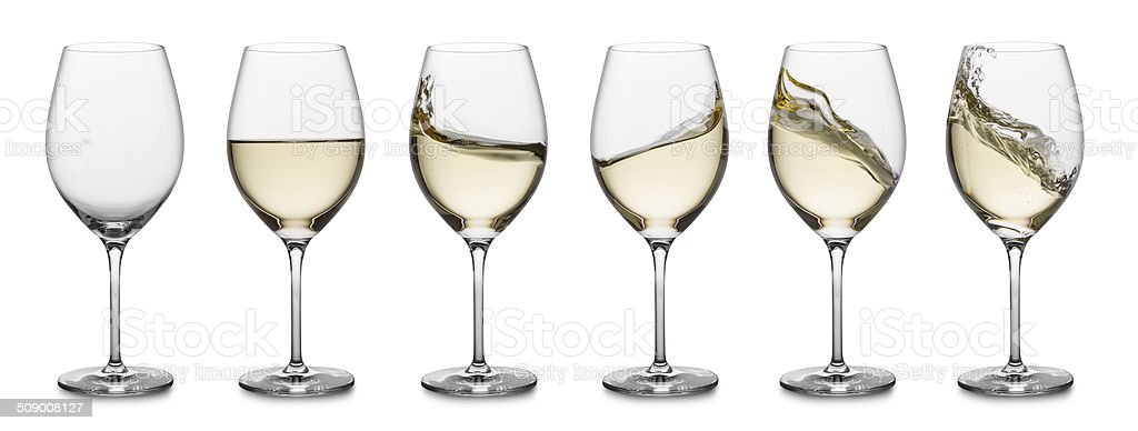 White wine splash collection stock photo