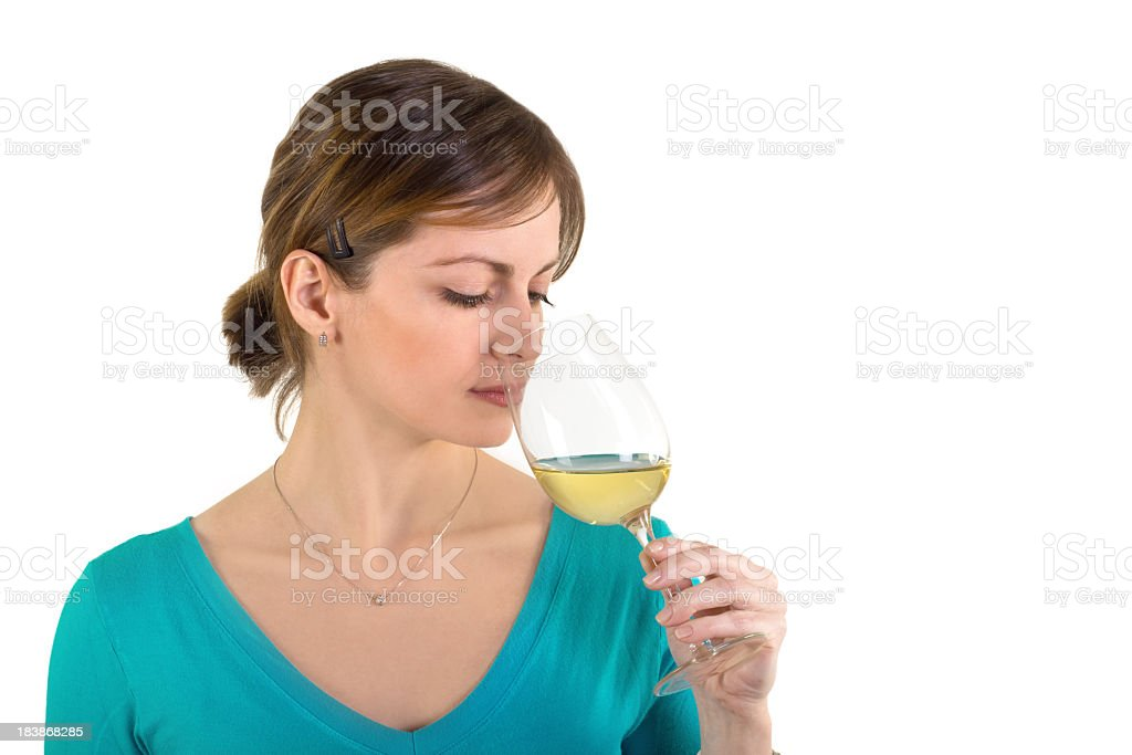White Wine Tasting and Beautiful Woman- Luminous Scene stock photo