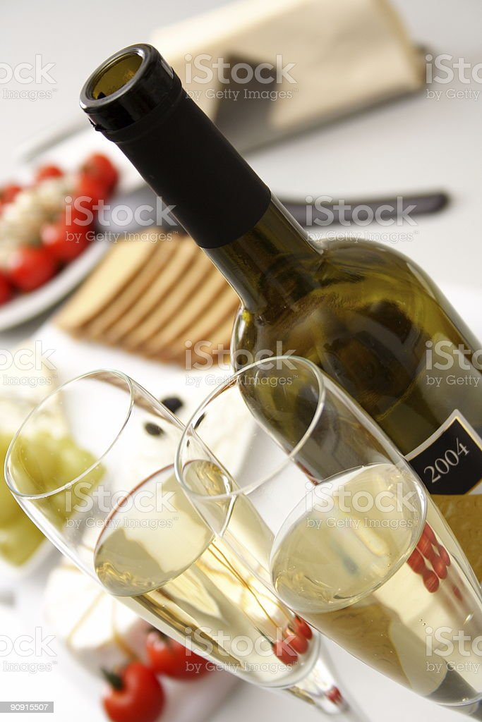 White wine with appetiser royalty-free stock photo