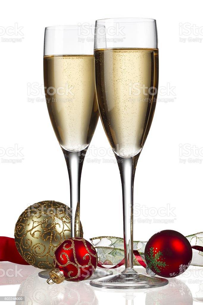 white wine with christmas decor stock photo