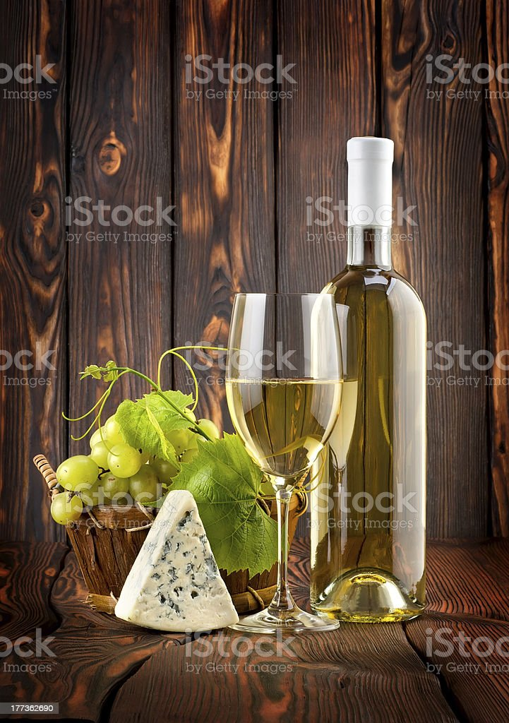 White wine with grapes and blue cheese royalty-free stock photo