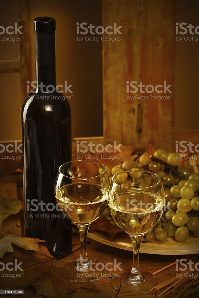 White wine with grapes royalty-free stock photo