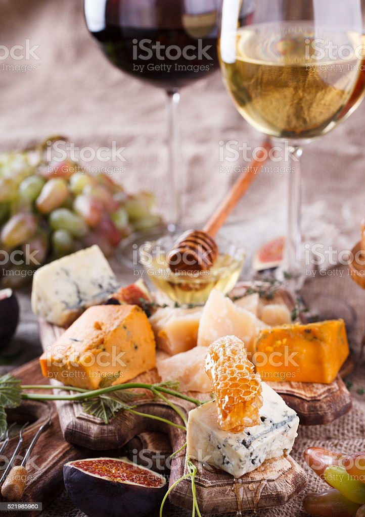 White wine,red wine in glasses and grapes stock photo