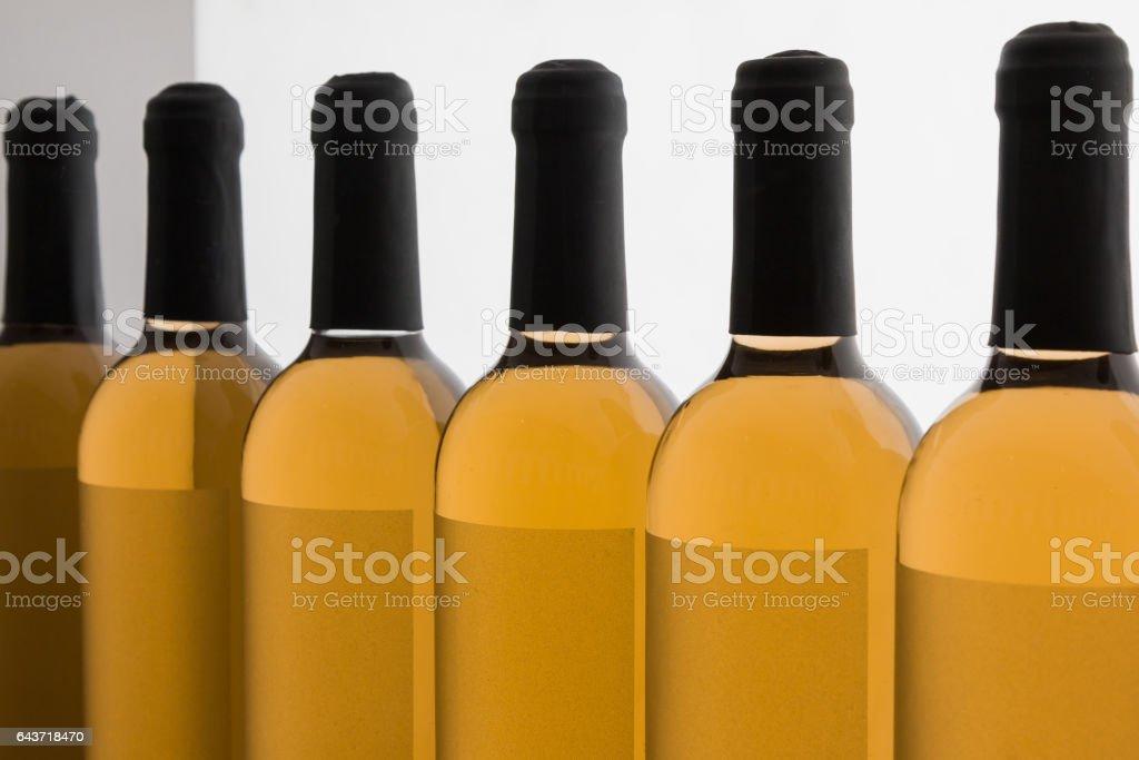 White Wine's Bottles in Line stock photo