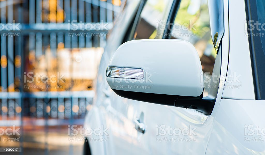 white wing mirror car stock photo