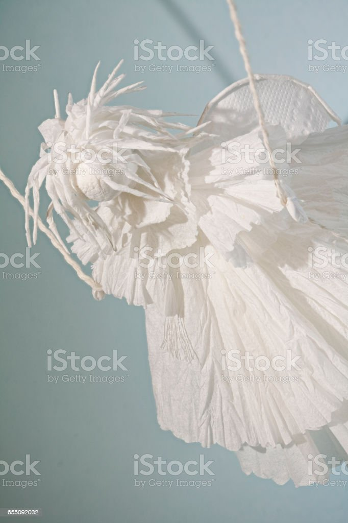 White Winged Angel Paper puppet stock photo