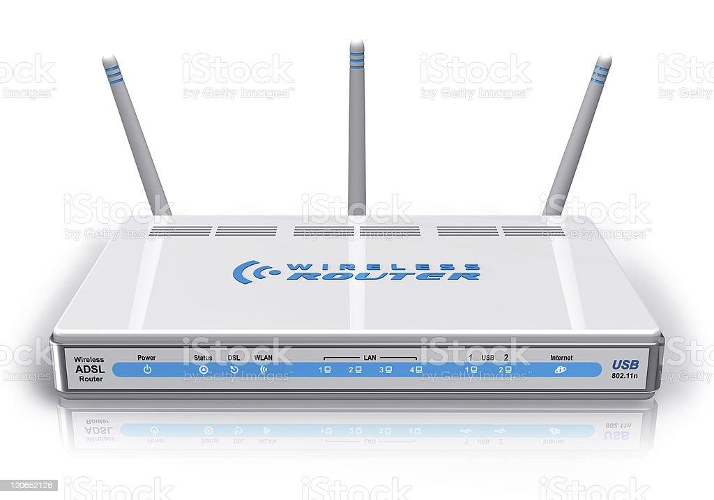 White wireless ADSL router stock photo