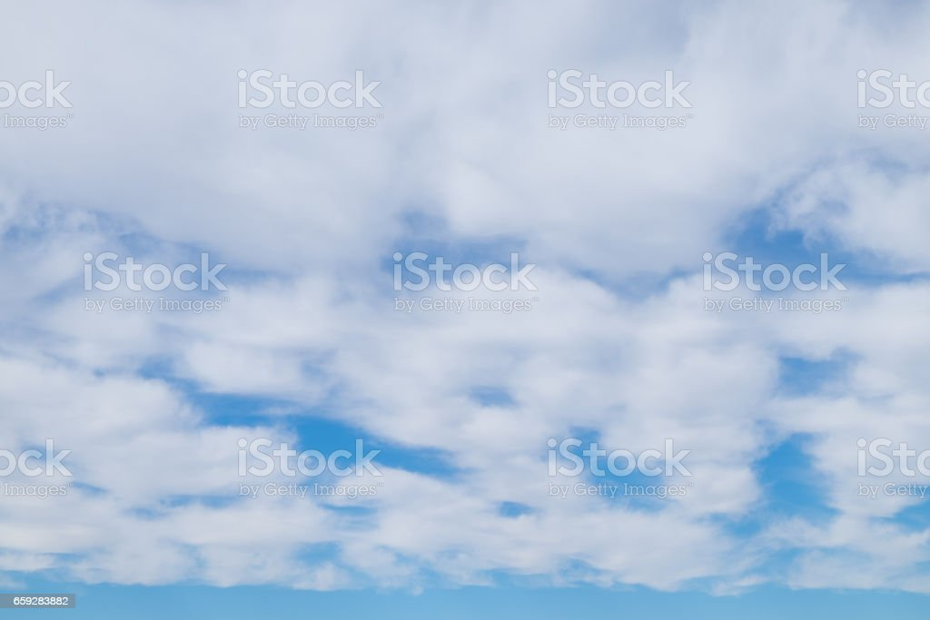 white wispy cirrus and cirrostratus clouds stock photo