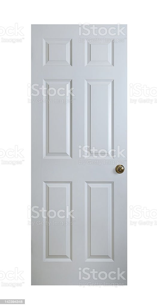 White Wood Door With Clipping Path stock photo
