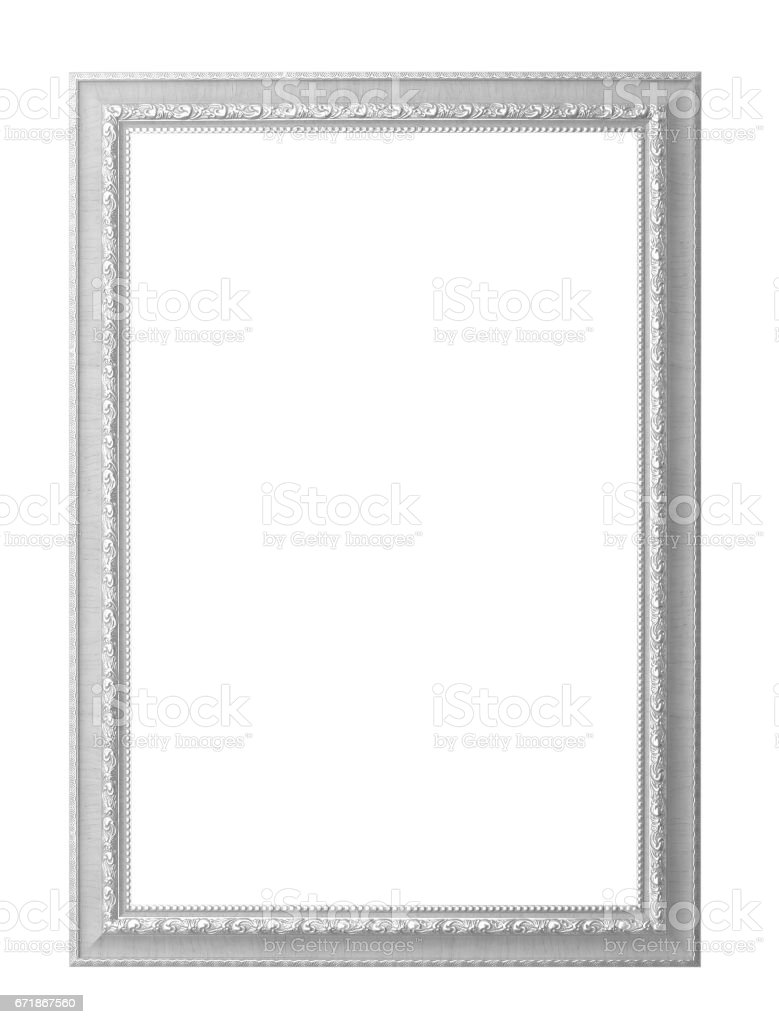 White wood picture frame stock photo