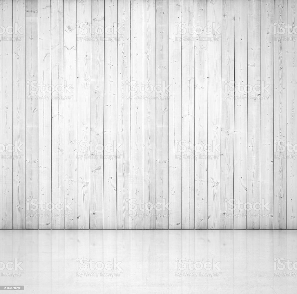 White wood wall and concrete floor stock photo