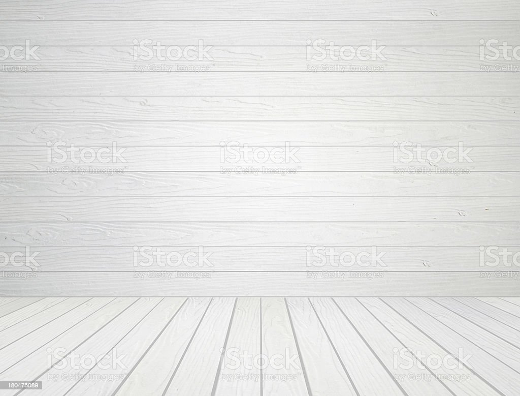 white wood wall and floor background stock photo
