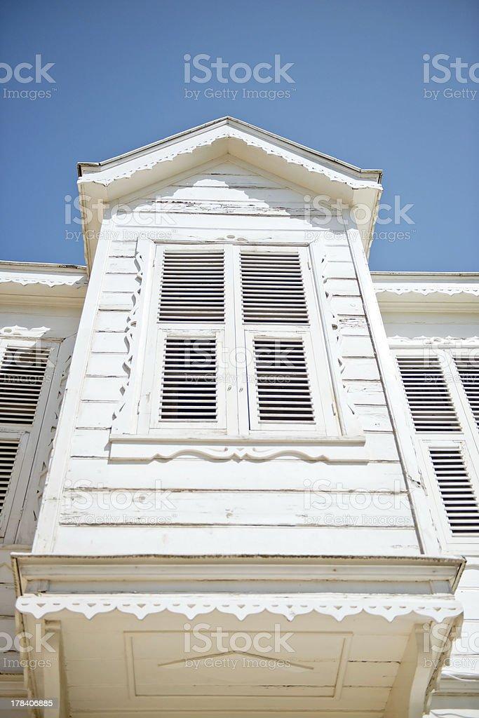 white wooden bay window house stock photo