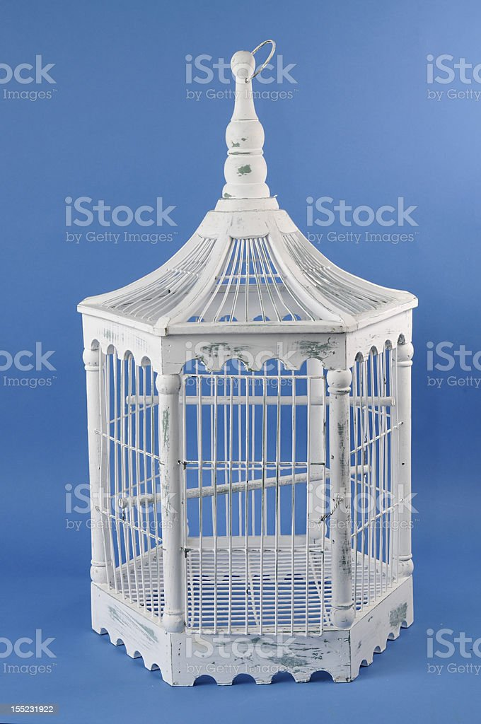 White Wooden Bird Cage royalty-free stock photo