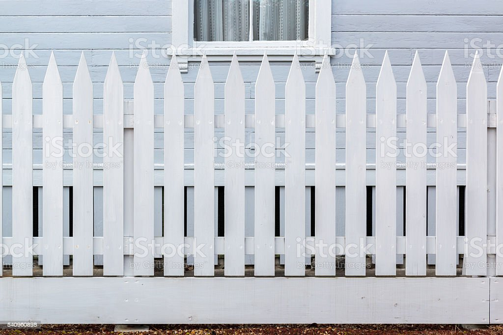 White wooden country style fence stock photo