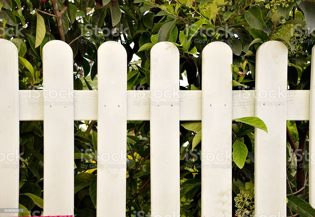 white wooden fence of home stock photo
