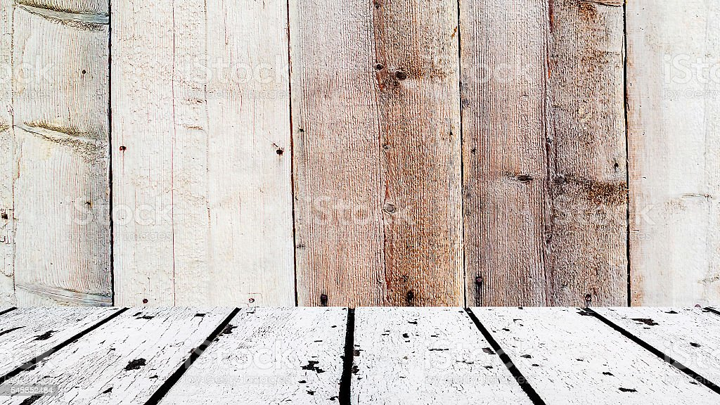 white wooden floor and brown wooden front stock photo
