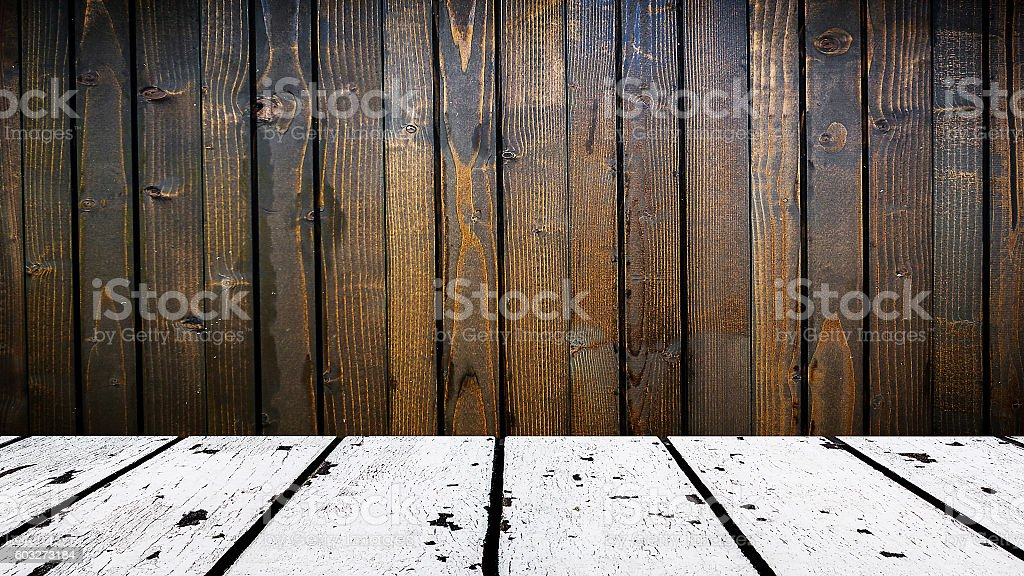 white wooden floor and brown wooden front with strong vignetting stock photo