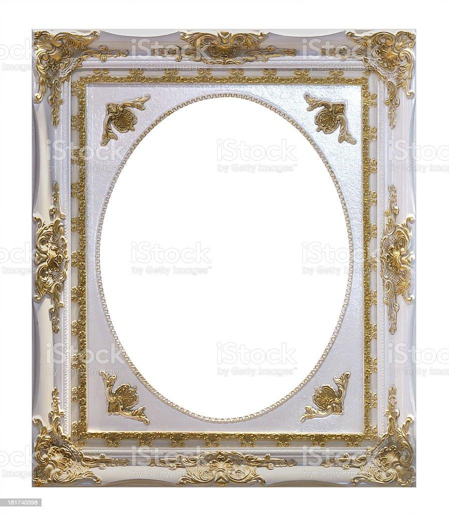 Bianco cornice di legno isolato con clipping path foto stock royalty-free