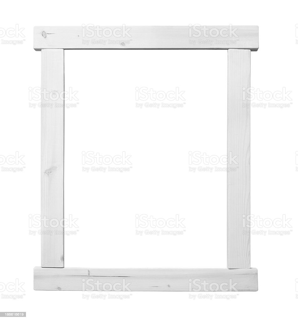 White Wooden Frame with Clipping Path royalty-free stock photo
