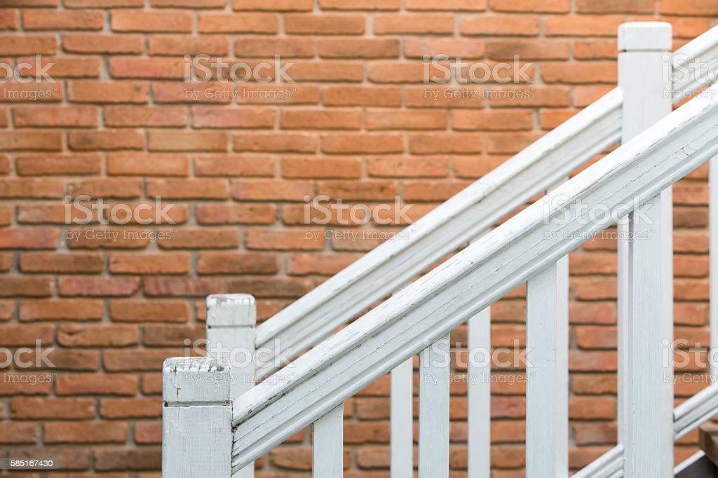 White wooden ourdoor staircase stock photo