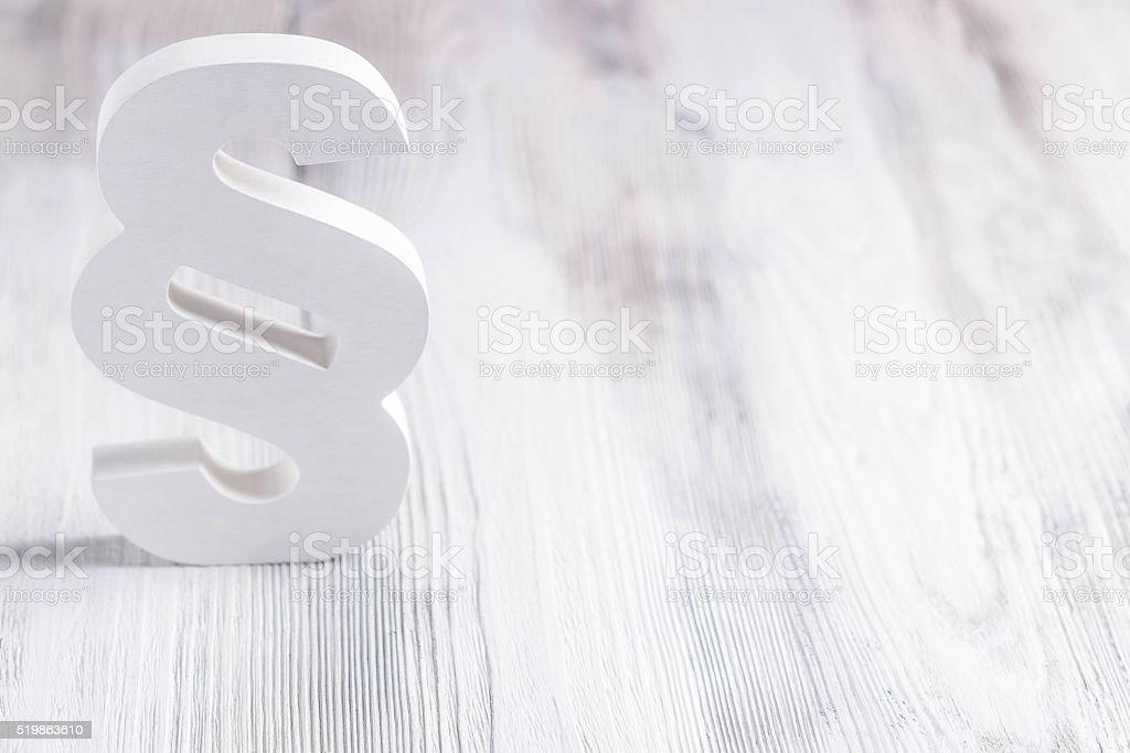 White wooden paragraph stock photo
