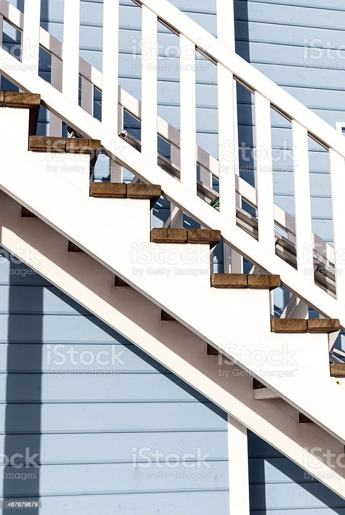 White wooden stairway and wall stock photo