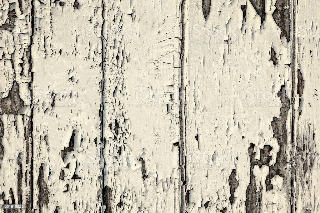 White wooden wall texture with peeling paint stock photo