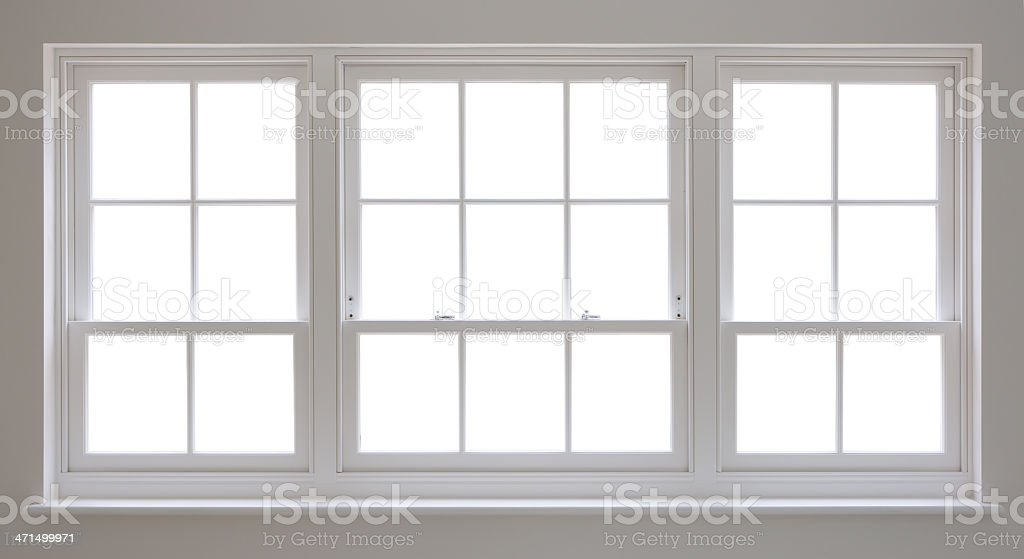 white wooden windows and clipping path stock photo