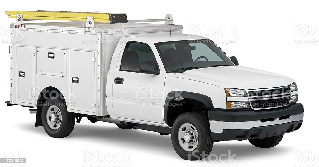 White work truck with ladder (clipping path) stock photo