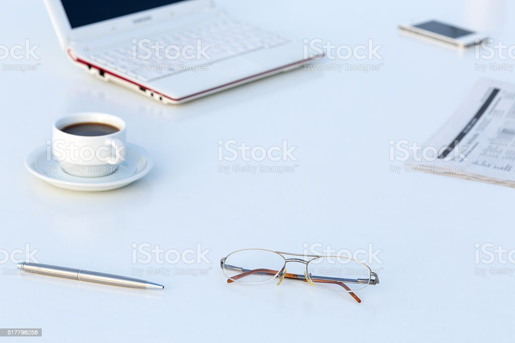 White working Desk with Business Items and copy Space stock photo