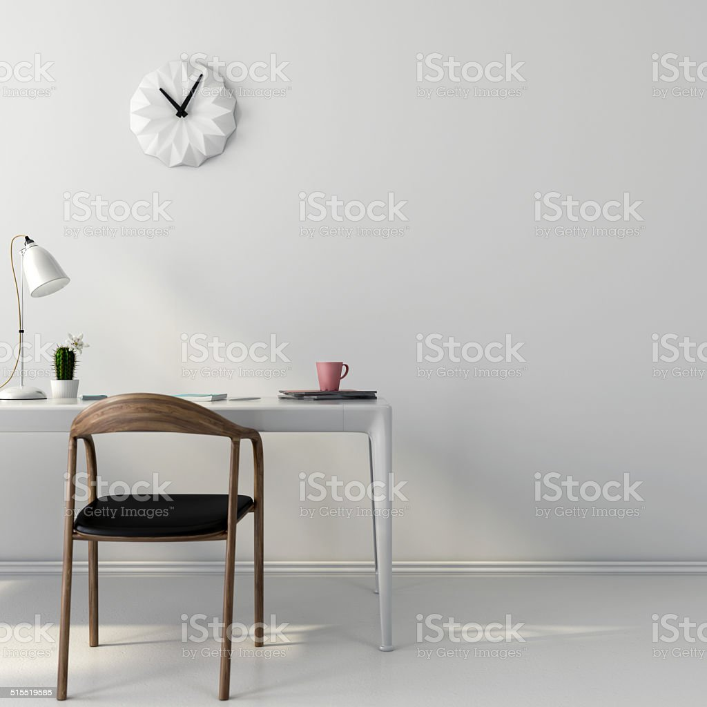White workplace with a wooden chair stock photo