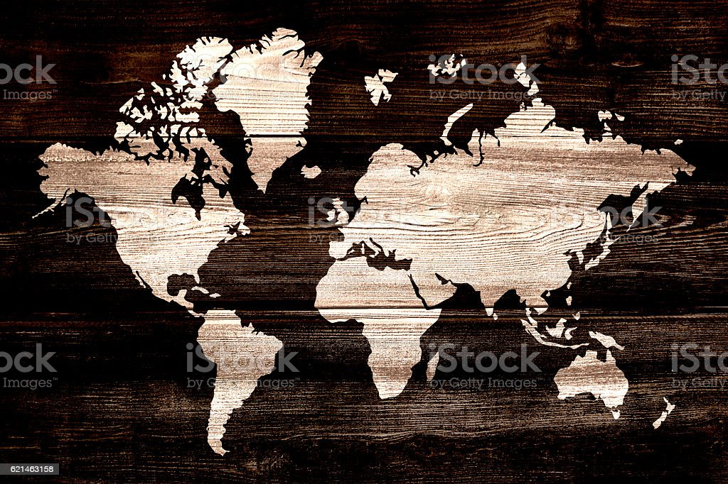 White XXXL World map on wood stock photo