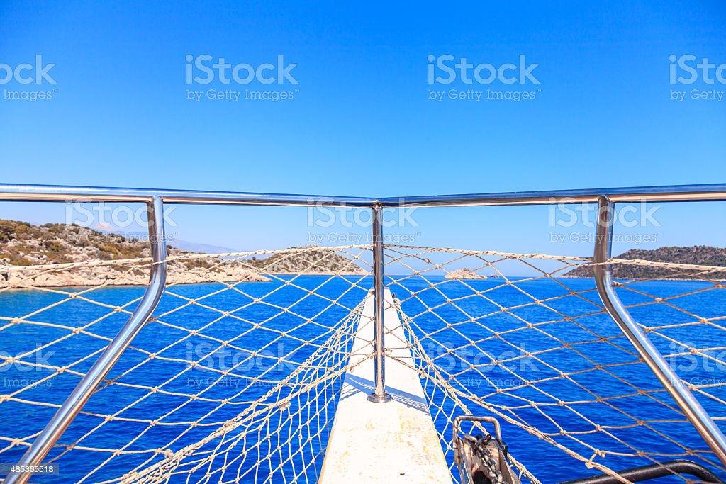 White yacht drifting in the waters of the Mediterranean sea stock photo