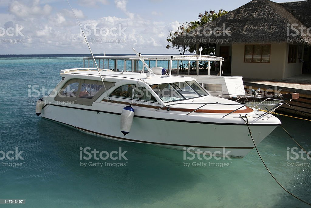White Yacht In Mooring royalty-free stock photo