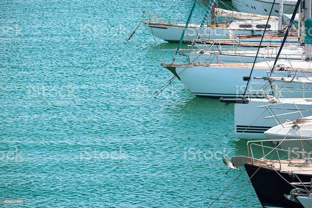 white yacht marina and cloudy sky stock photo
