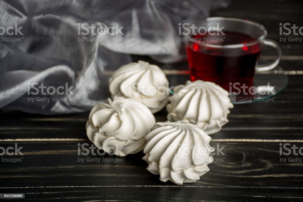 White zephyr with red tea stock photo