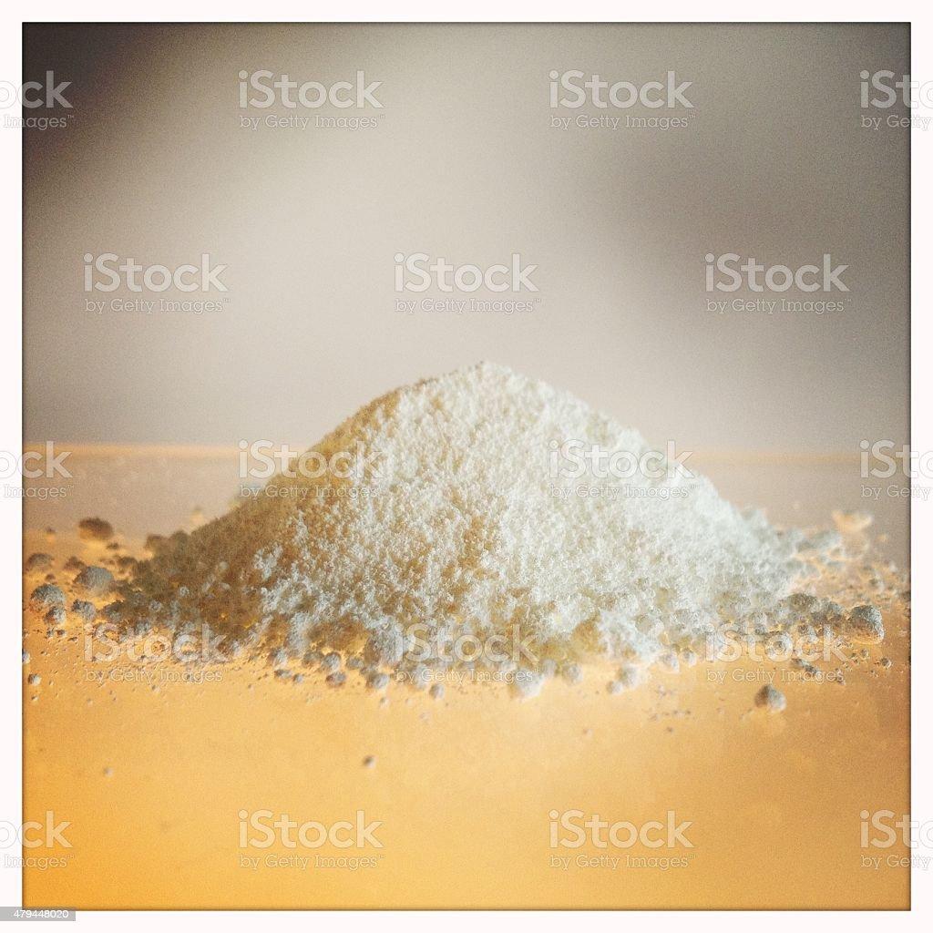 White zinc oxide pigment powder close-up stock photo